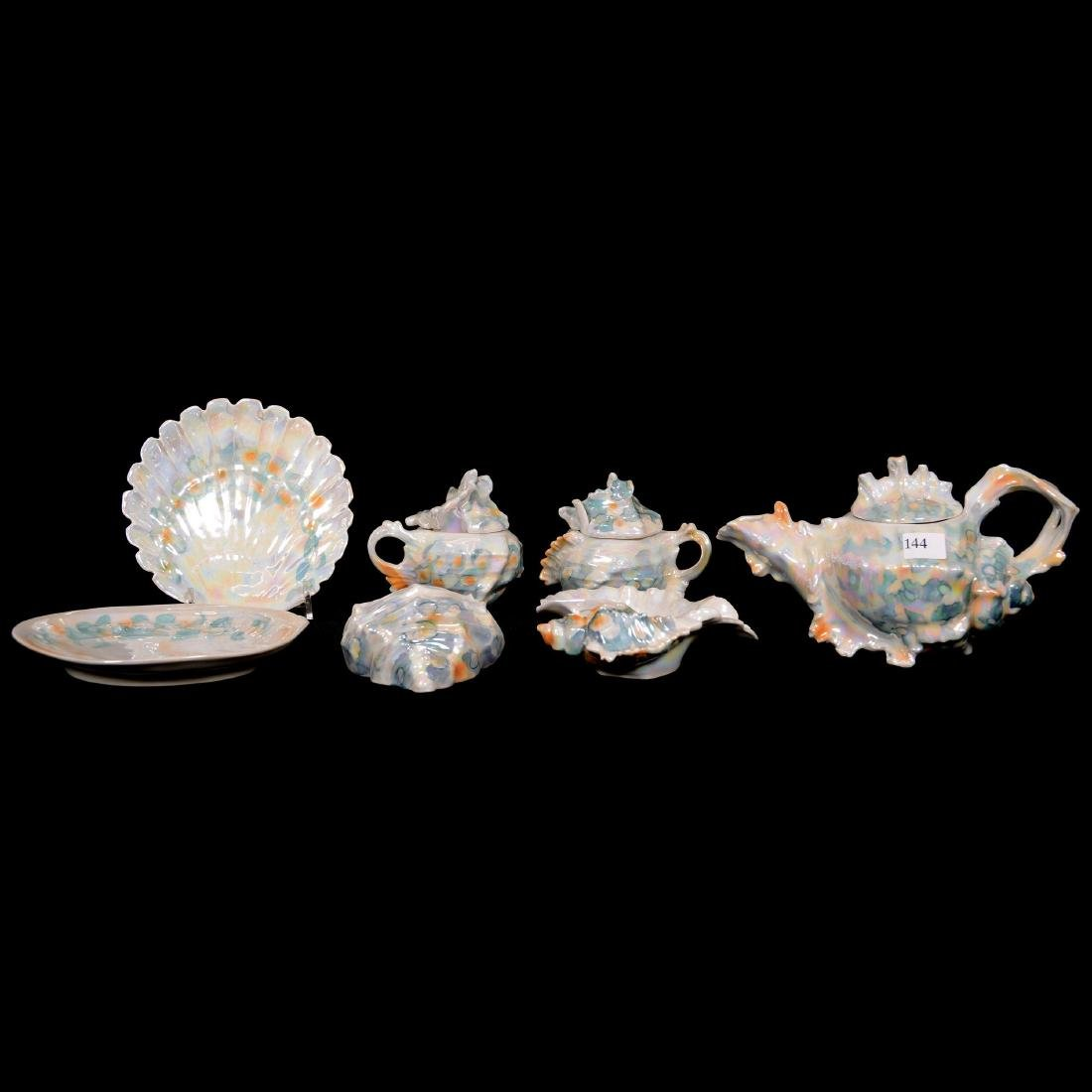 (7) Royal Bayreuth Figural Pearlized Sea Shell Items