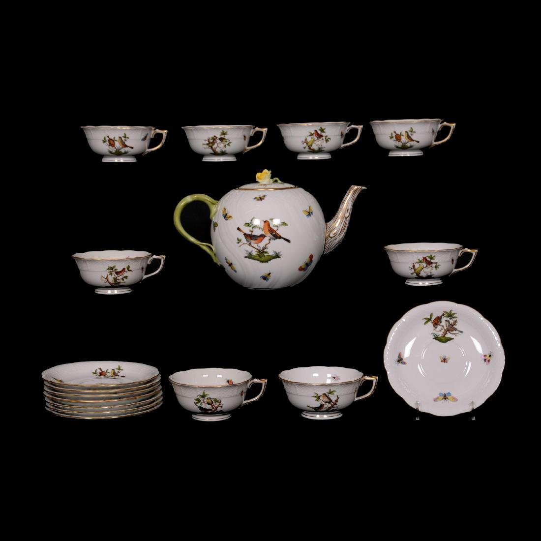 Herend Hungary Porcelain Hand Painted Seventeen Piece T