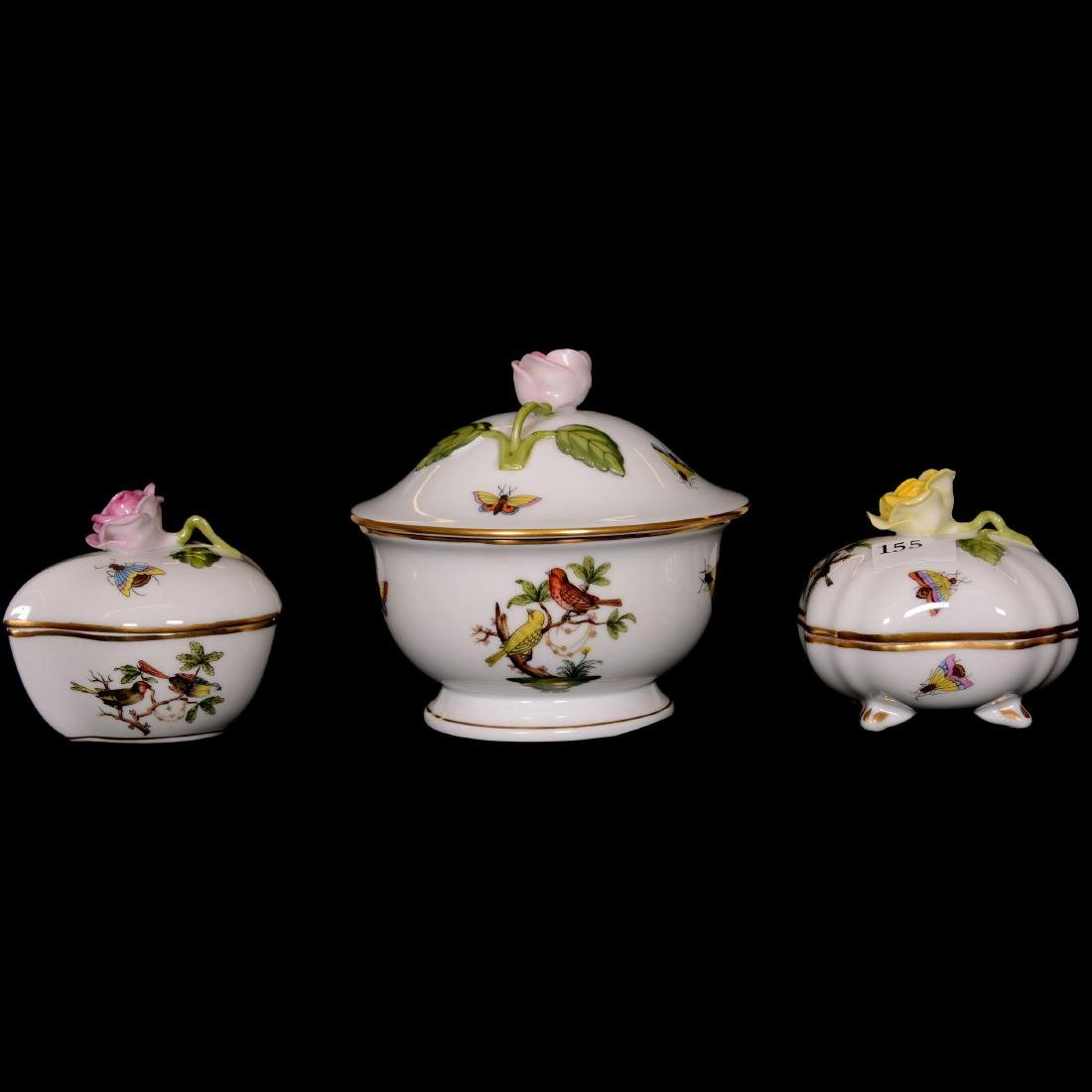 (3) Herend Hungary Porcelain Hand Painted Covered Boxes
