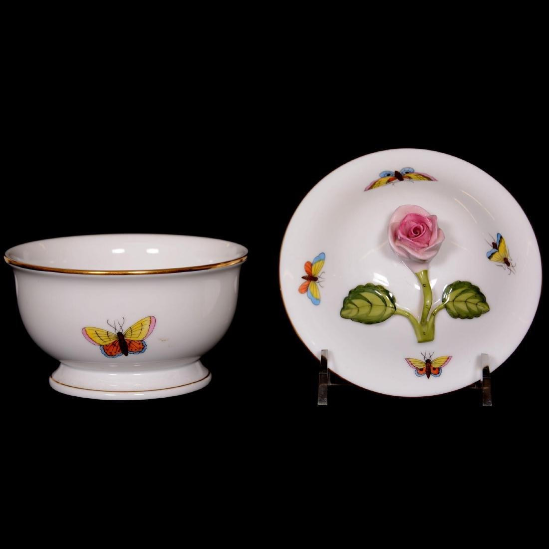 (3) Herend Hungary Porcelain Hand Painted Covered Boxes - 2