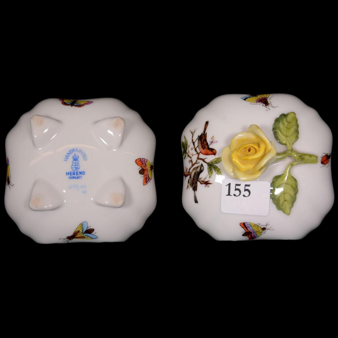 (3) Herend Hungary Porcelain Hand Painted Covered Boxes - 4