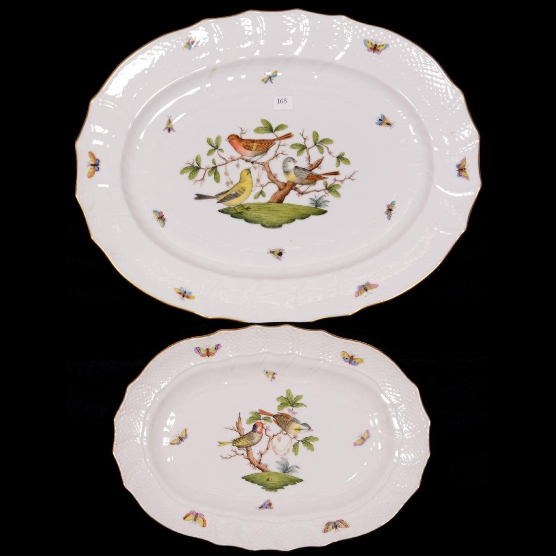 (2) Herend Hungary Porcelain Hand Painted Platters