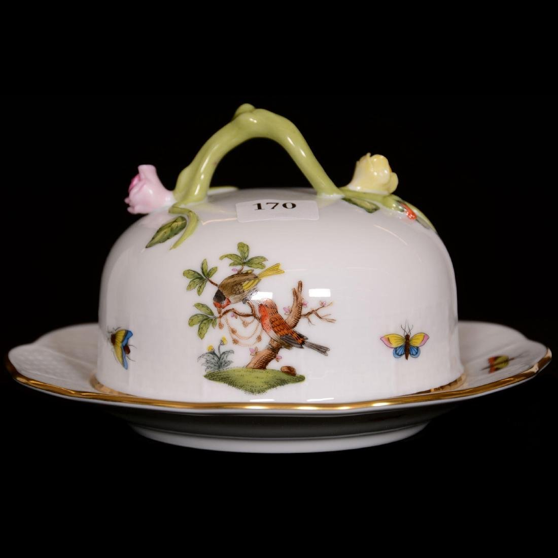 Herend Hungary Porcelain Hand Painted Covered Butterdis