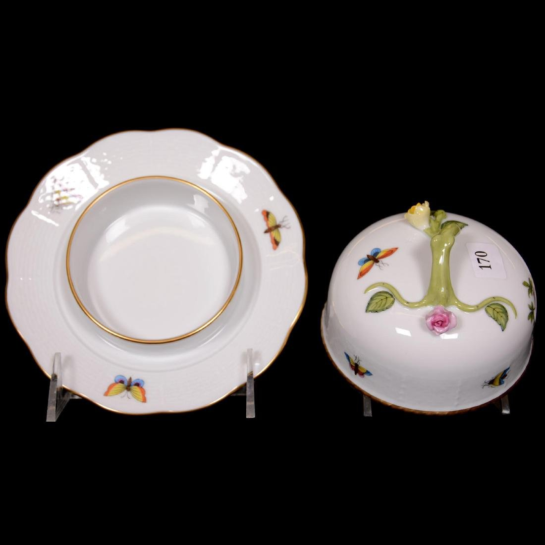 Herend Hungary Porcelain Hand Painted Covered Butterdis - 2