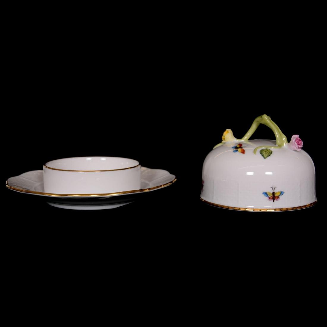 Herend Hungary Porcelain Hand Painted Covered Butterdis - 3