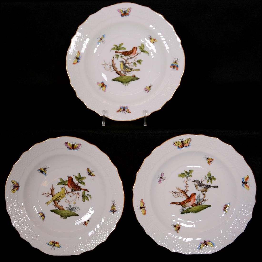 (15) Herend Hungary Porcelain Hand Painted Luncheon Pla - 3