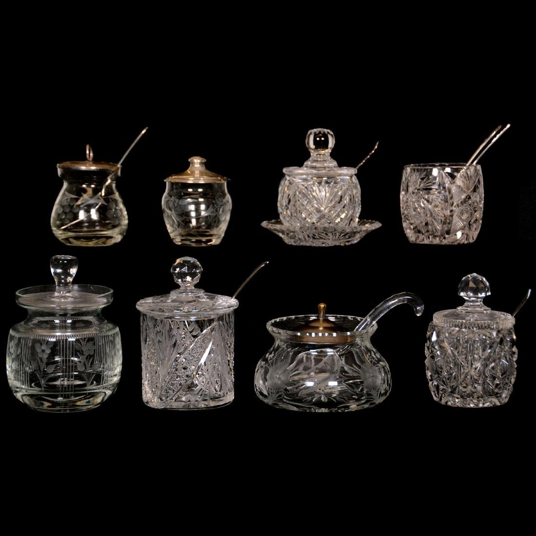 (8) Assorted Cut Glass Mustard and Jam Jars