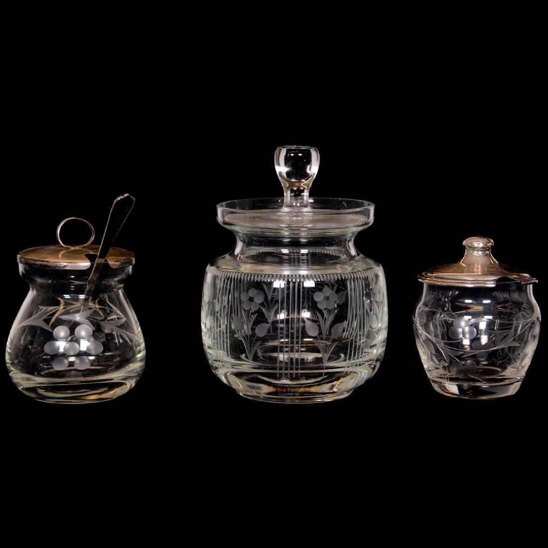 (8) Assorted Cut Glass Mustard and Jam Jars - 2