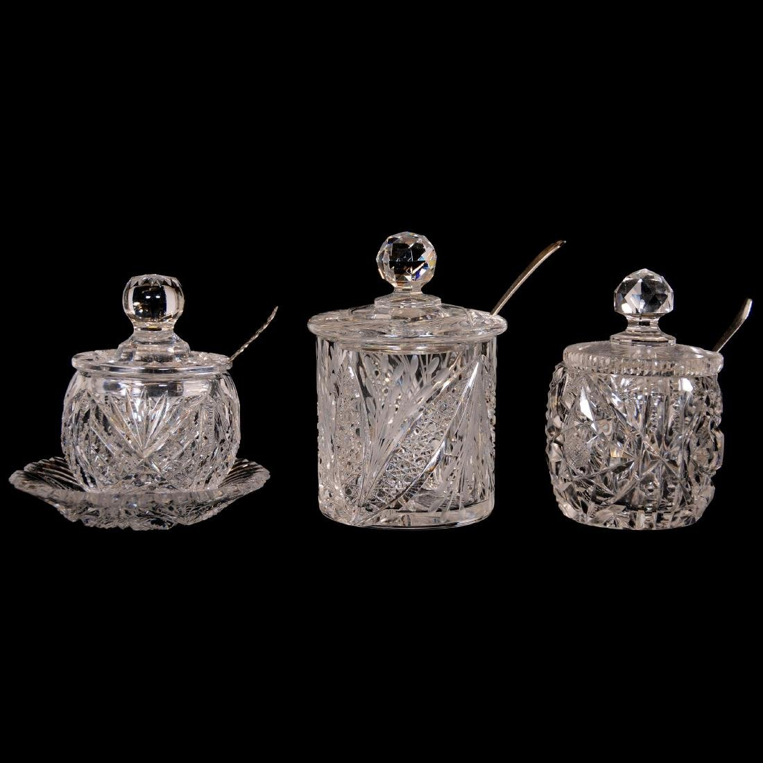 (8) Assorted Cut Glass Mustard and Jam Jars - 3