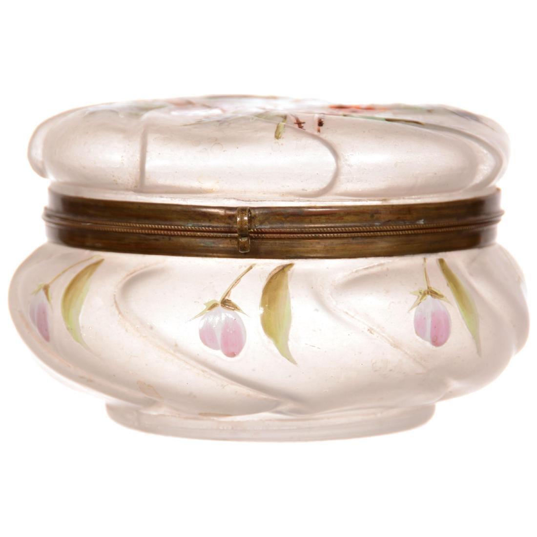 Unmarked Wavecrest Style Round Hinged Jewel Box