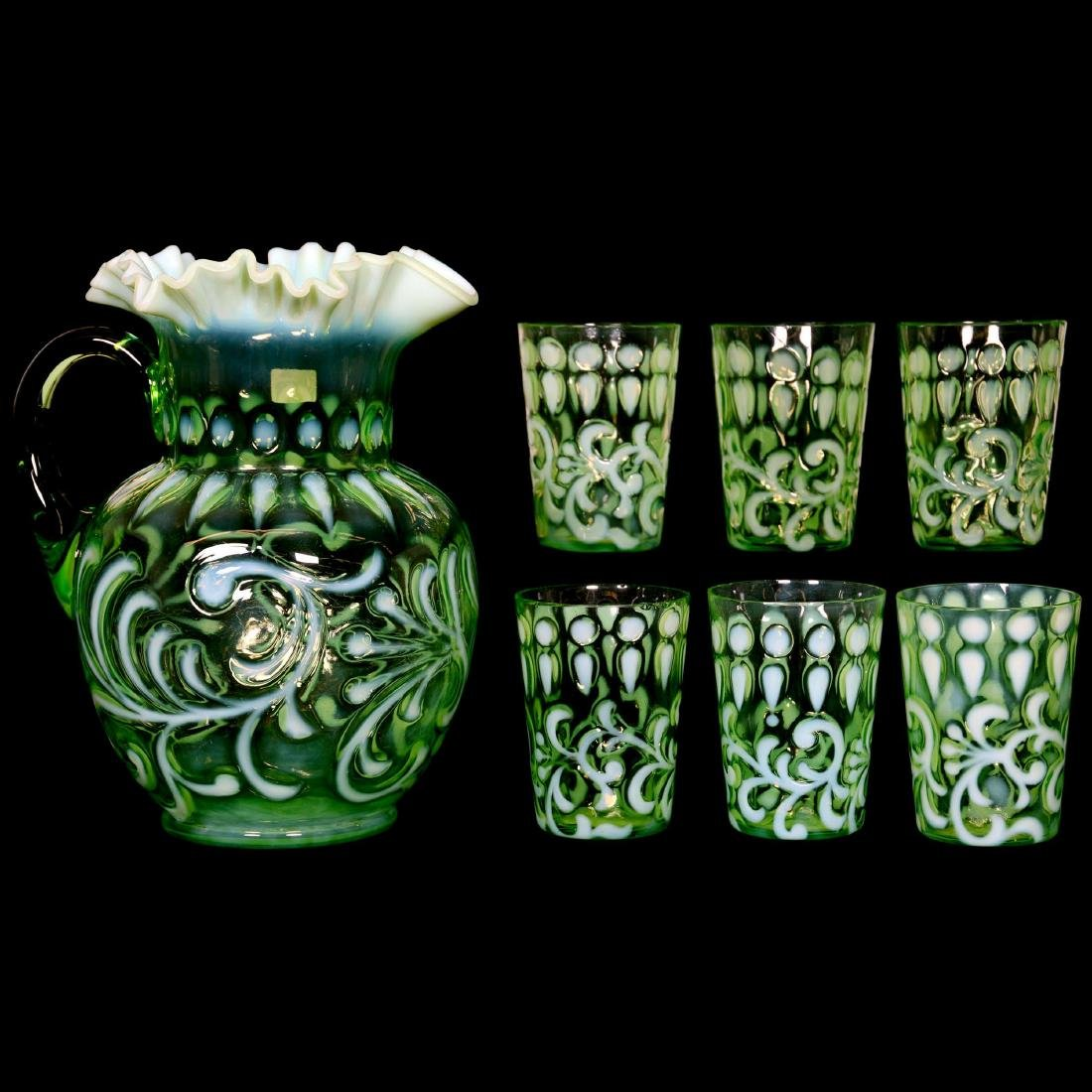 EAPG Green Opalescent Water Set