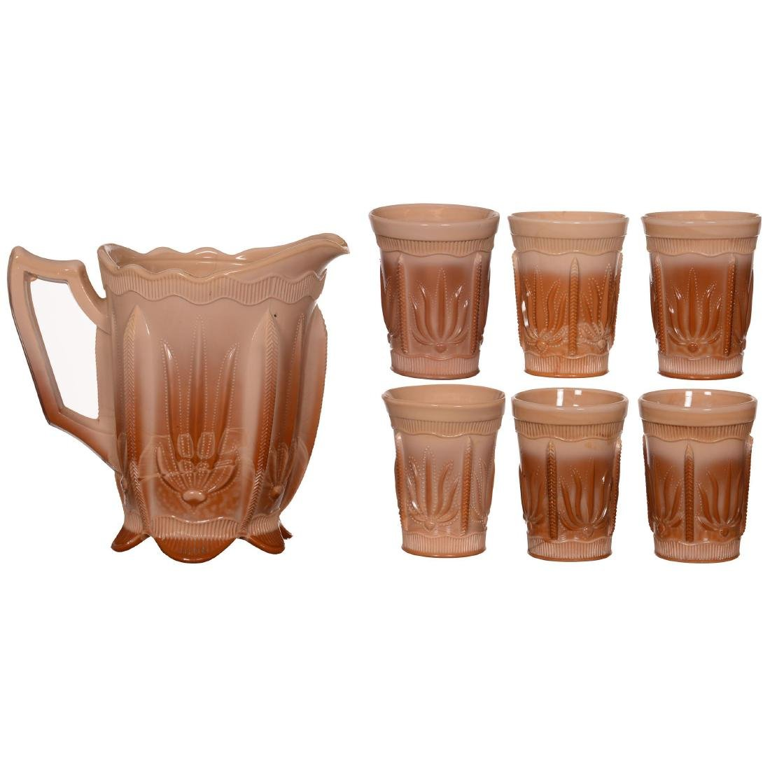 Original Greentown Chocolate Glass Water Set