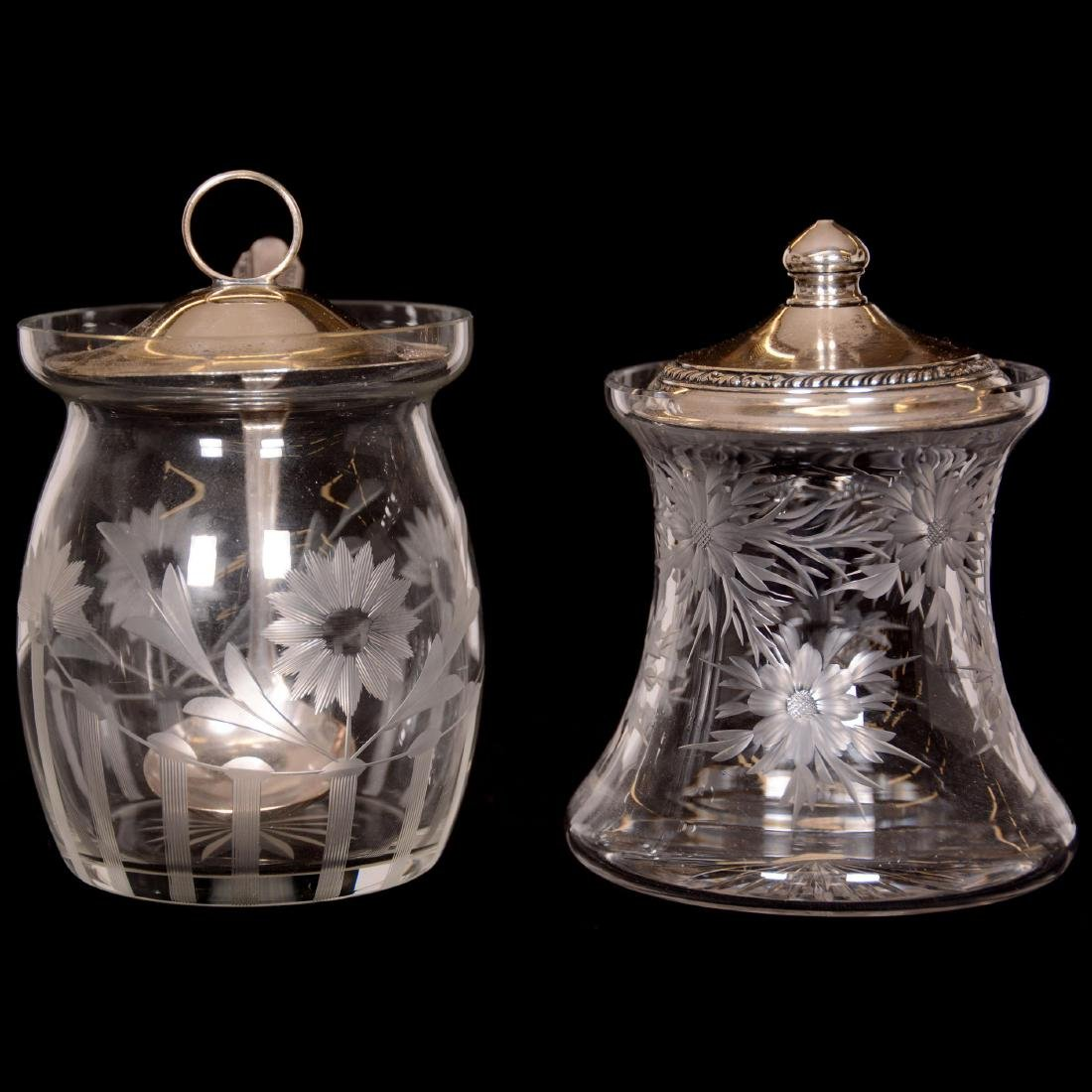 (6) Assorted Cut Glass Jam Jars with Sterling Lids - 2