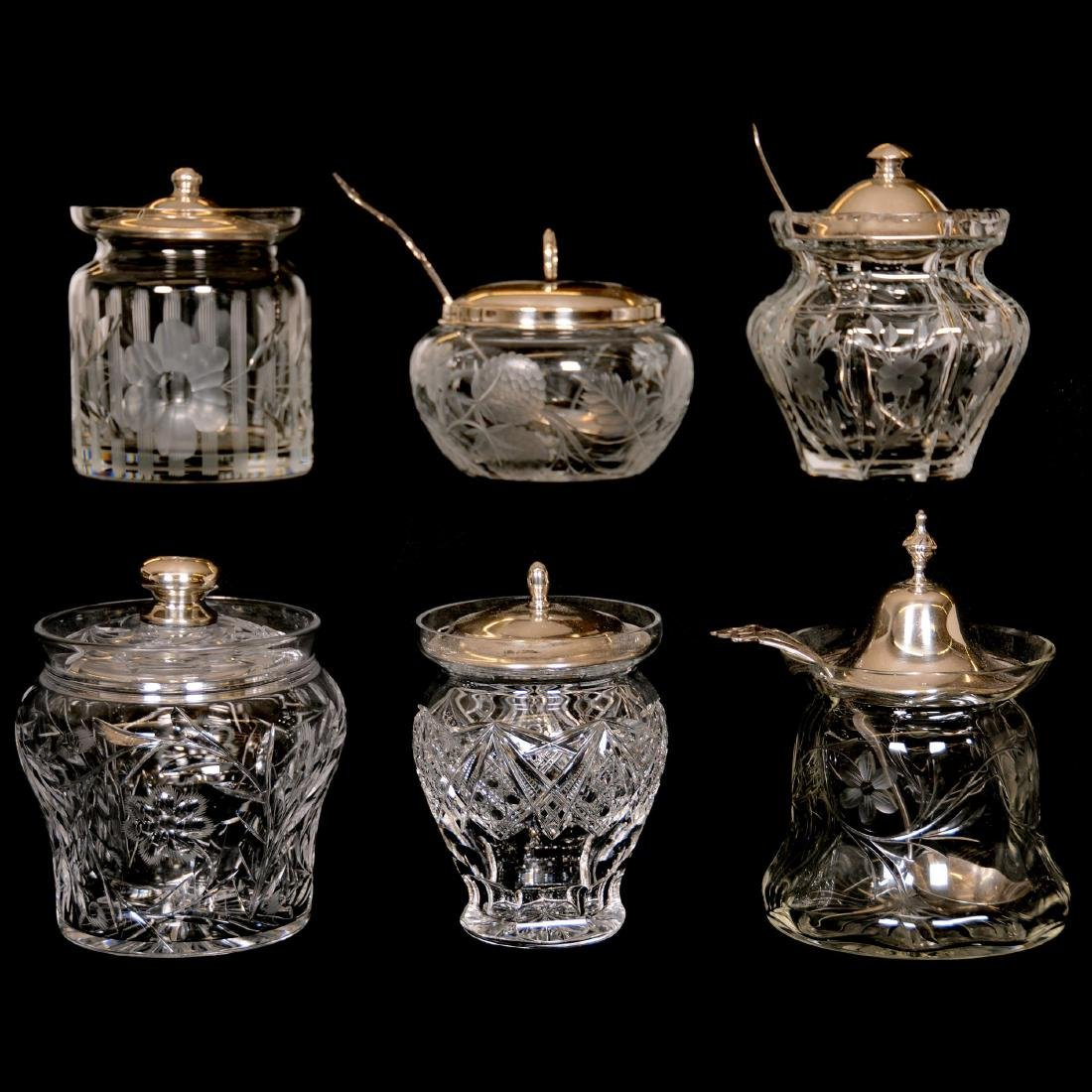 (6) Assorted Cut Glass Jam Jars with Sterling Lids