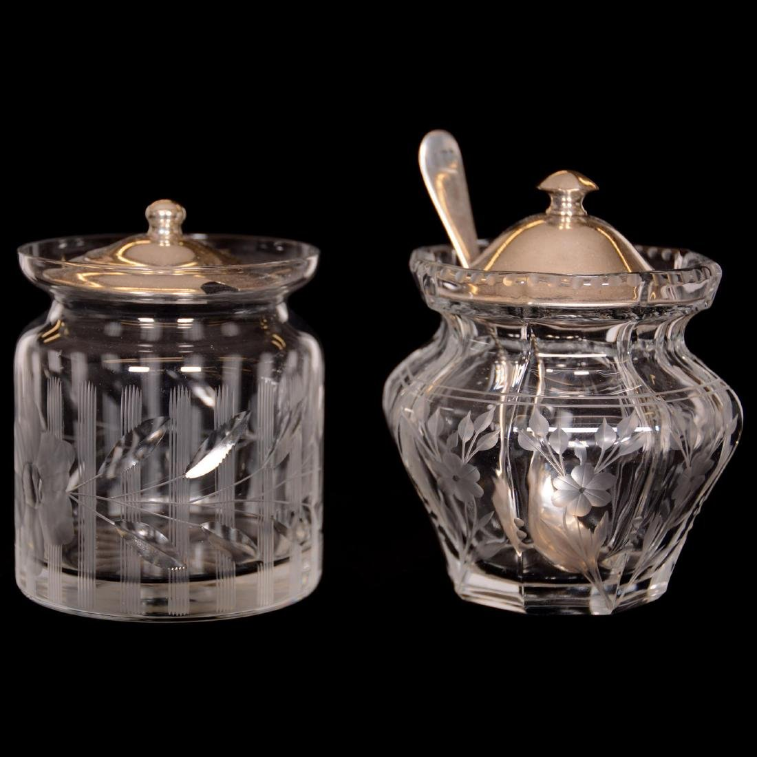 (6) Assorted Cut Glass Jam Jars with Sterling Lids - 3