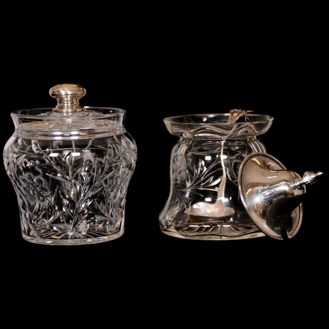 (6) Assorted Cut Glass Jam Jars with Sterling Lids - 4