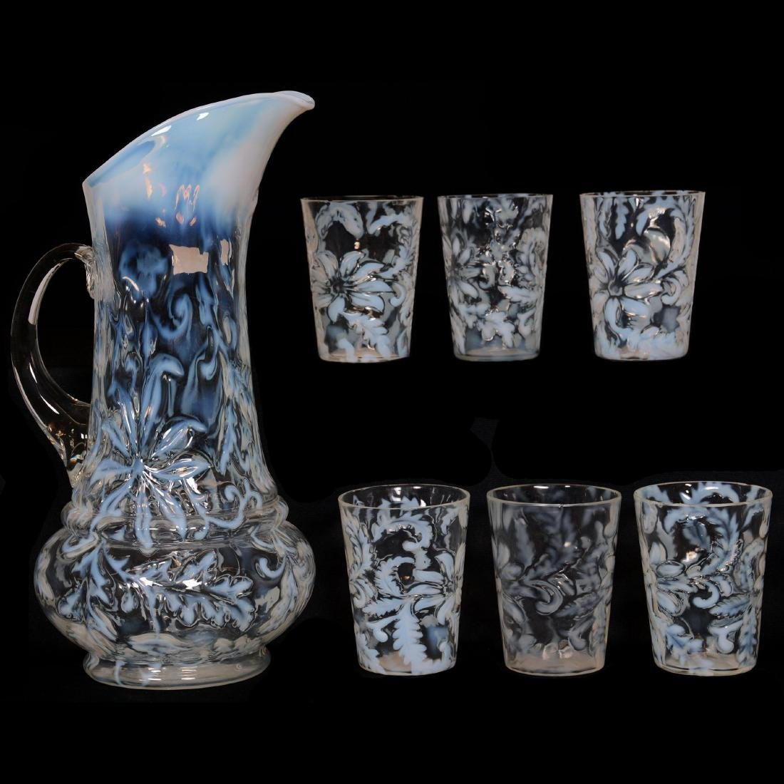 EAPG White Opalescent Water Set