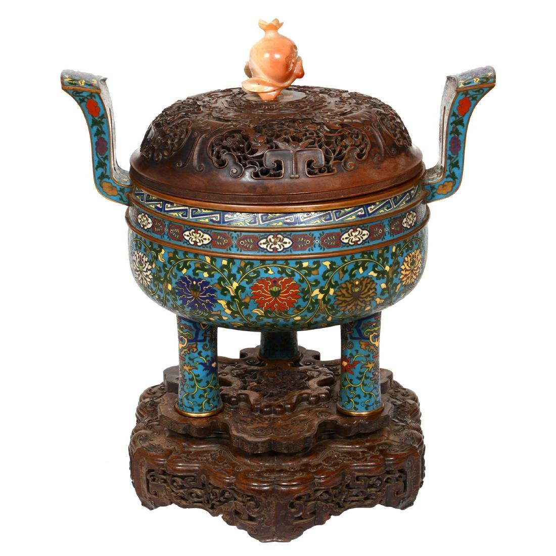 Cloisonne Covered Urn on Teakwood Stand