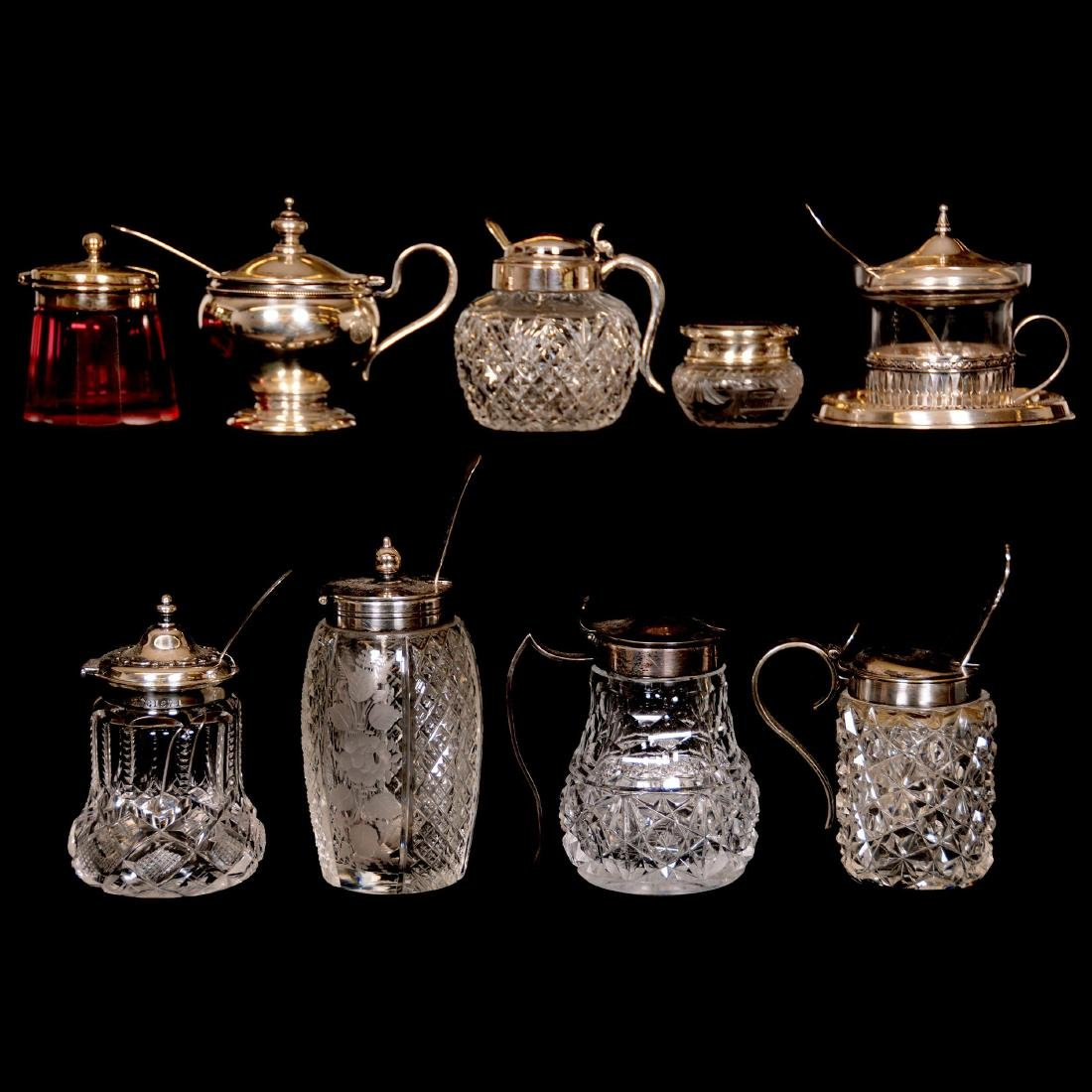 (9) Assorted Sterling Silver and Cut-Glass Mustard Jars
