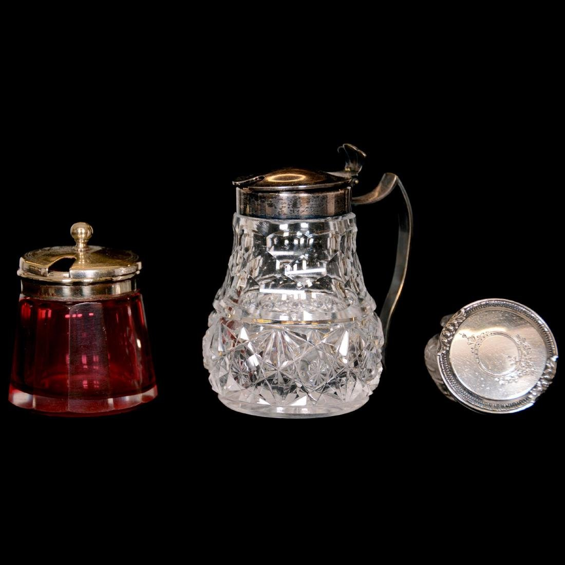 (9) Assorted Sterling Silver and Cut-Glass Mustard Jars - 2
