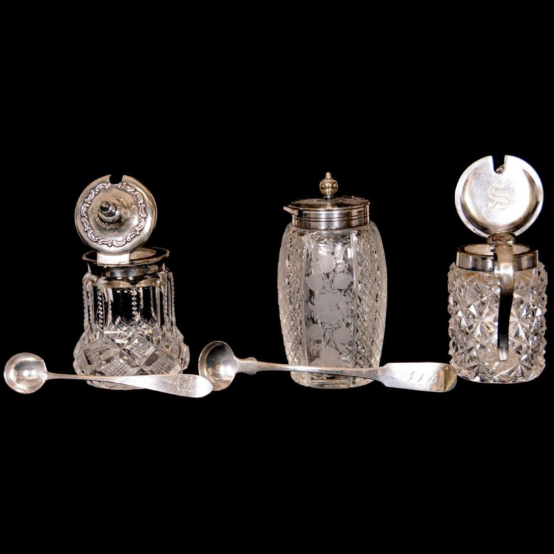 (9) Assorted Sterling Silver and Cut-Glass Mustard Jars - 4
