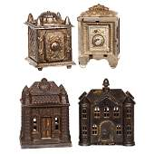 (4) Cast Iron Figural Banks