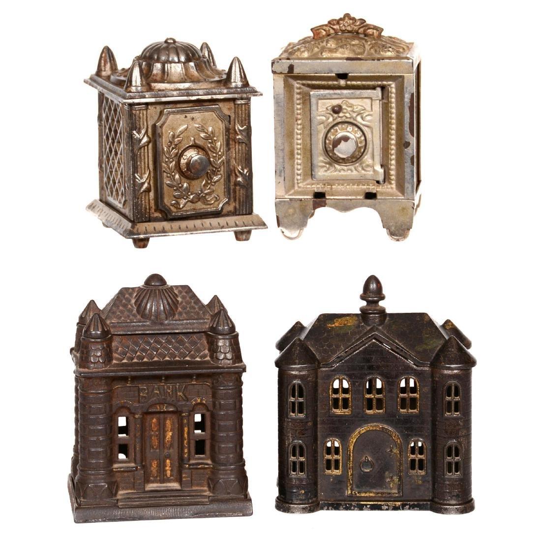 (4) Cast Iron Figural Banks
