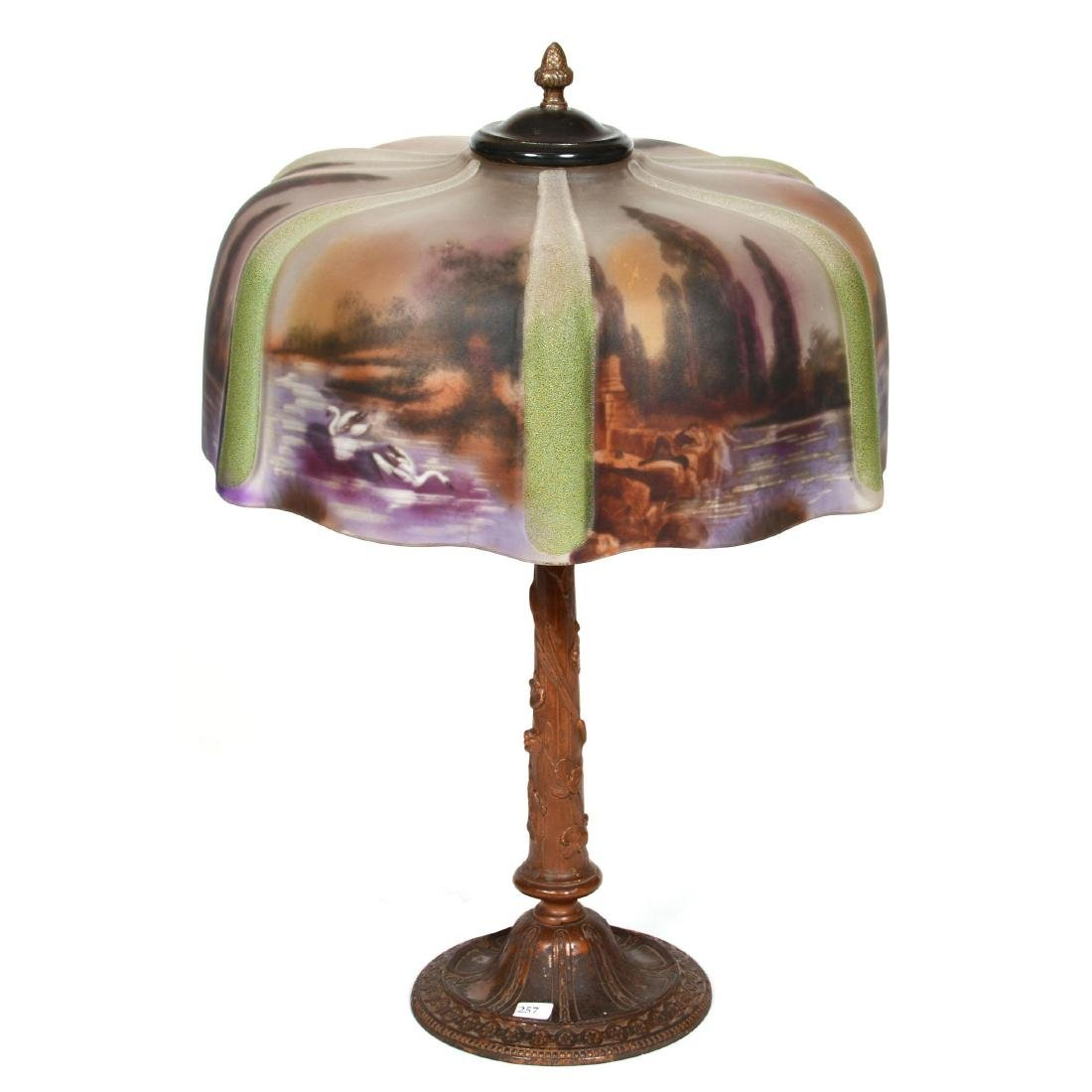 Table Lamp with Reverse Painted Shade