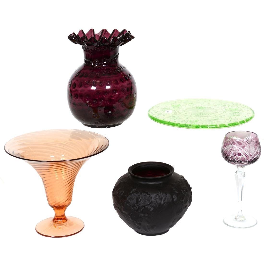 (5) Assorted Art Glass Items