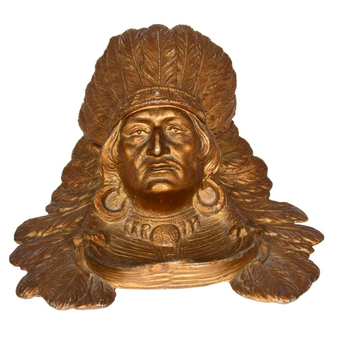 Figural Indian Chief Inkwell