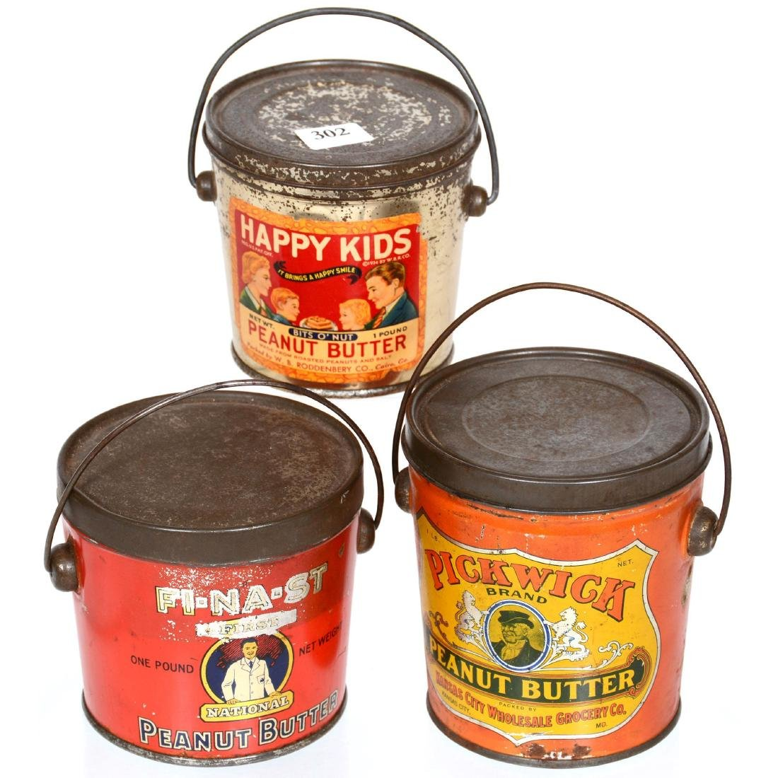 (3) Original Peanut Butter Advertising Tins in Shape of