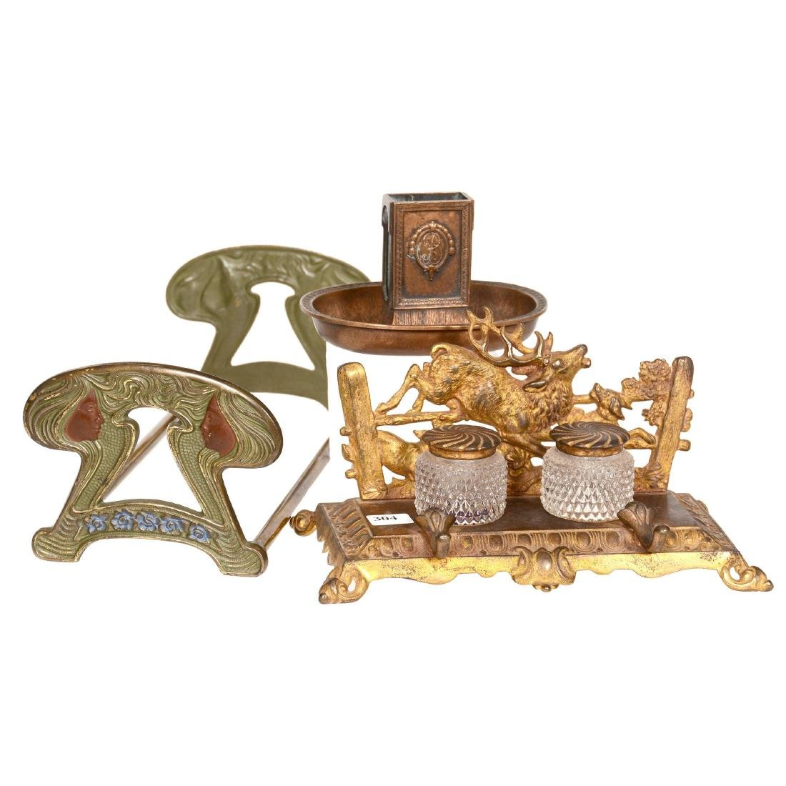 (3) Embossed Metal Desk Items