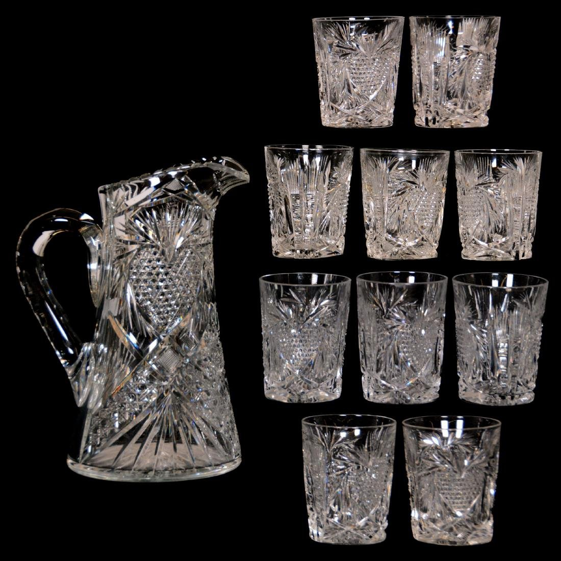 American Brilliant Cut Glass Water Set