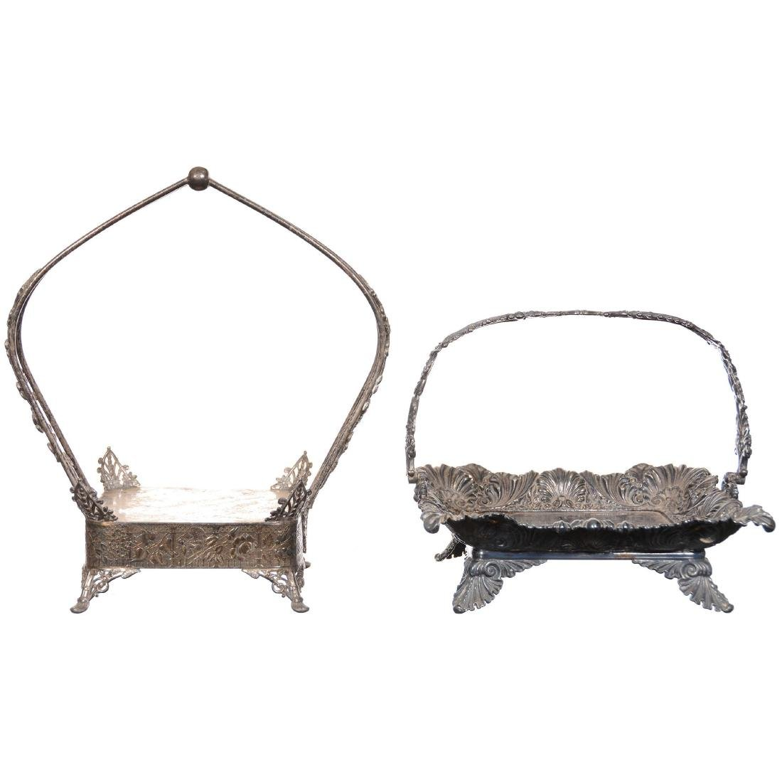 (2) Silverplate Square Shaped Stands