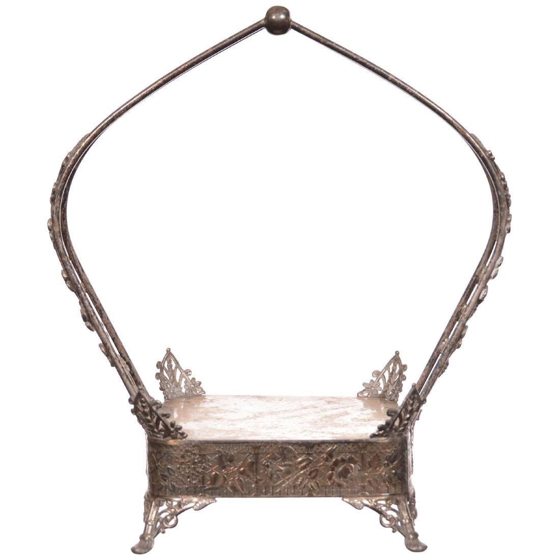 (2) Silverplate Square Shaped Stands - 3