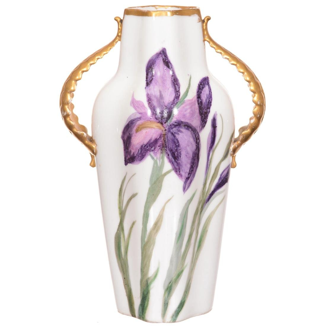 Bavarian Hand Painted Two Handled Vase - 2