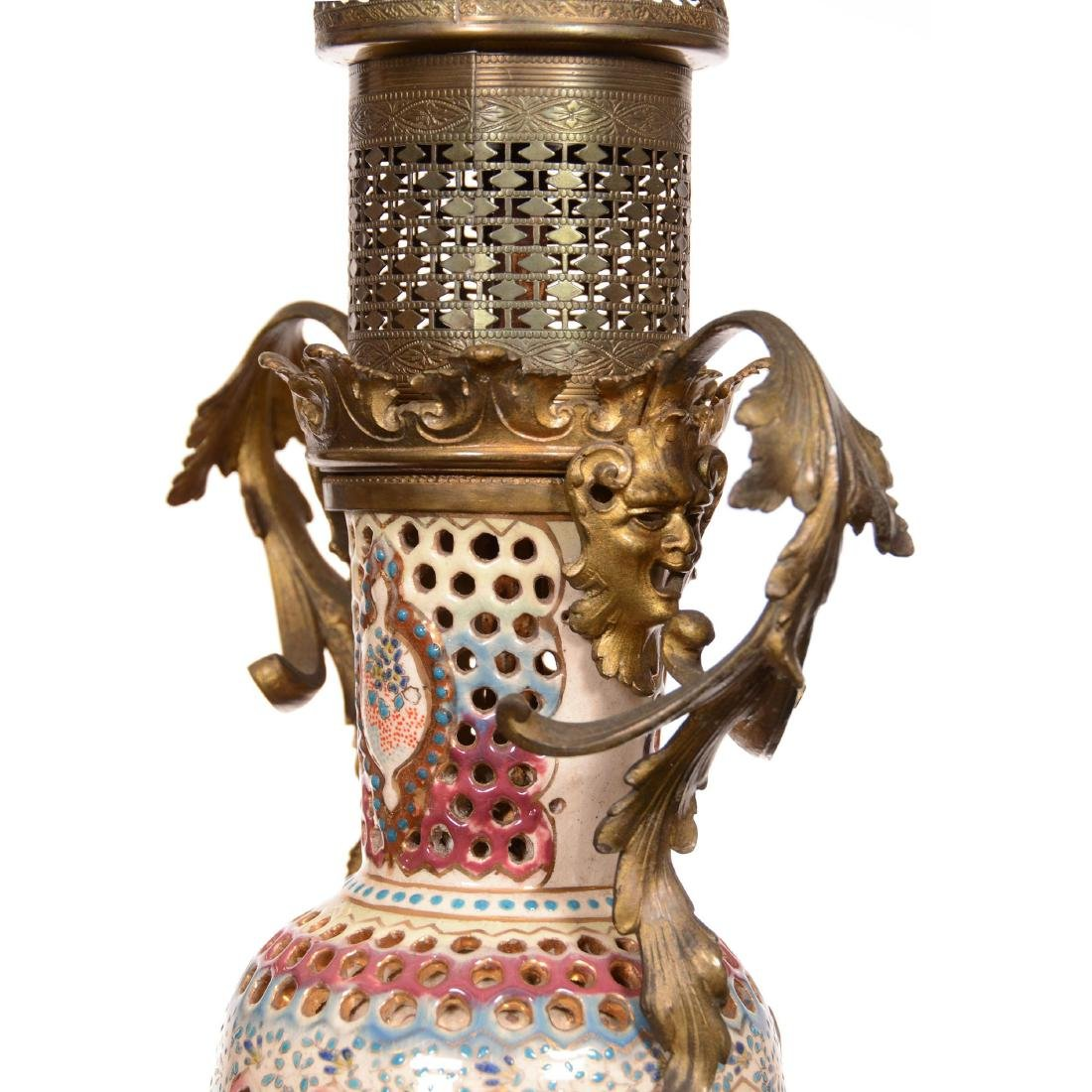 Unmarked Zsolnay Art Pottery Lamp Base - 2