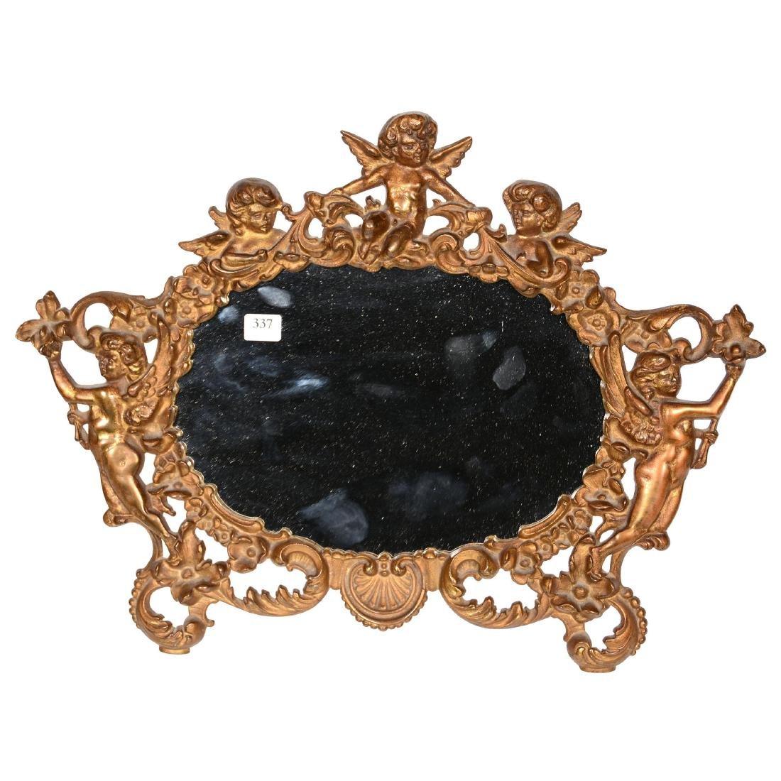 Ornate Brass Framed Stand-Up Mirror