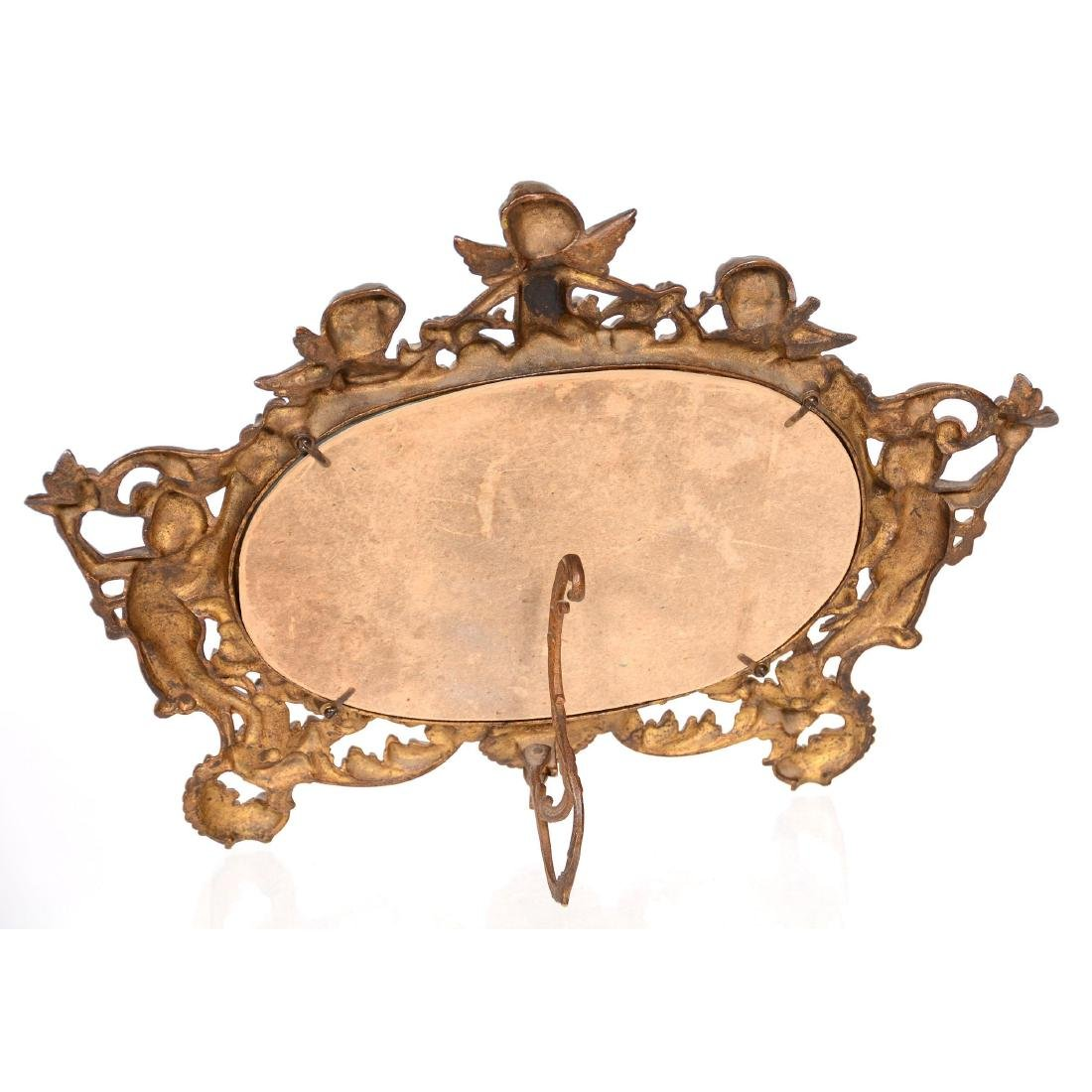 Ornate Brass Framed Stand-Up Mirror - 2