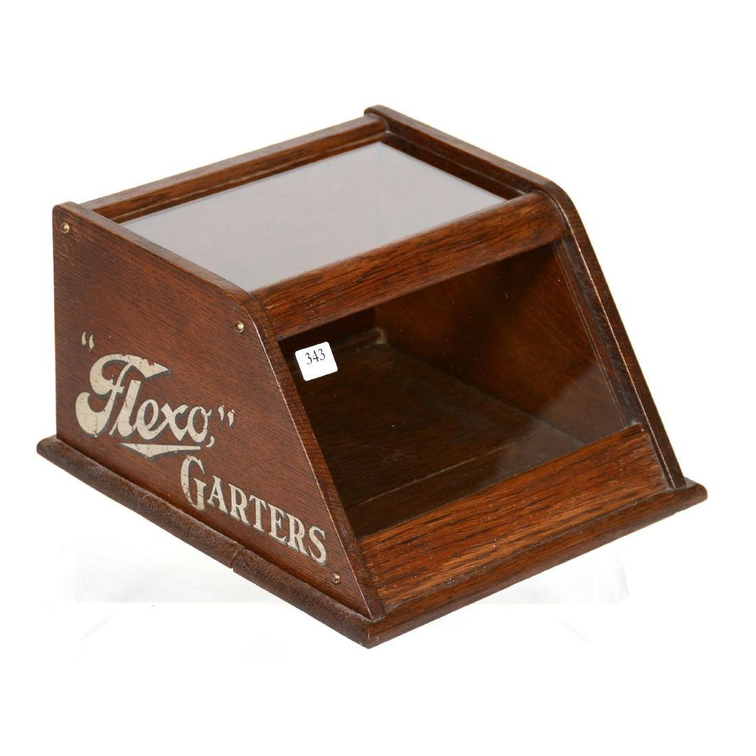 Original Oak Counter Top Garter Display Case with Adver