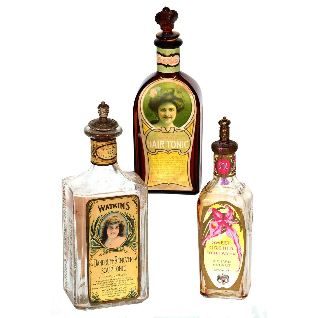 (3) Original Tonic Bottles with Original Paper Advertis