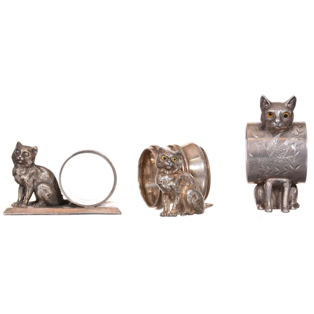 (3) Victorian Figural Cat Napkin Ring Holders