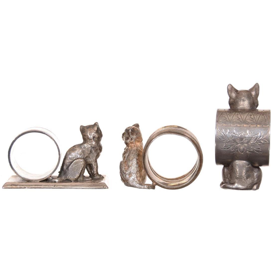 (3) Victorian Figural Cat Napkin Ring Holders - 2