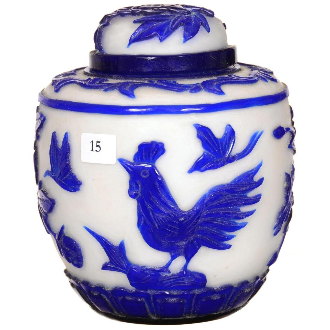 Peking Cameo Art Glass Covered Jar