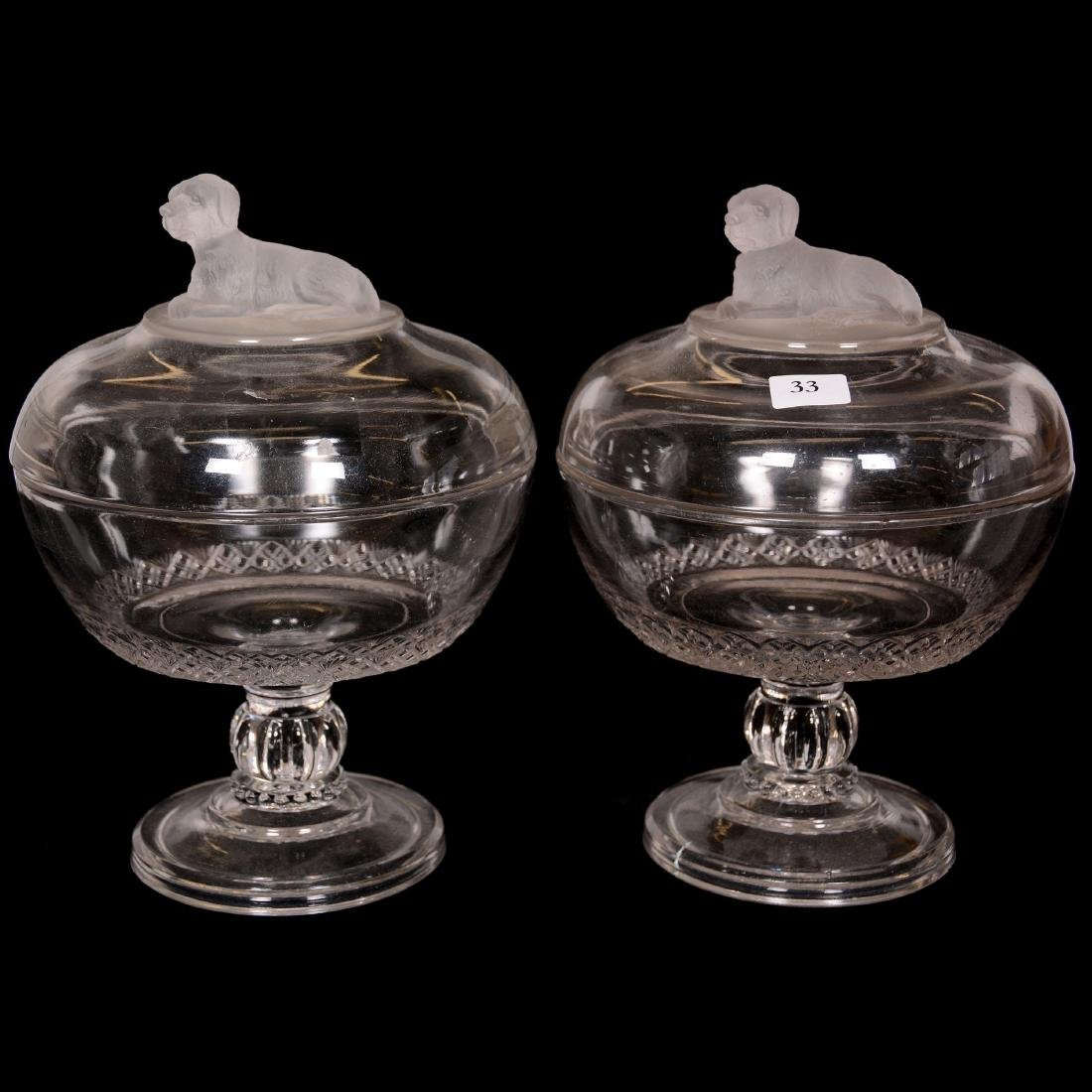 Pair Pattern Glass Covered Compotes