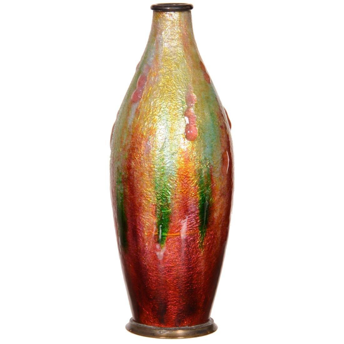 French Enamel Vase