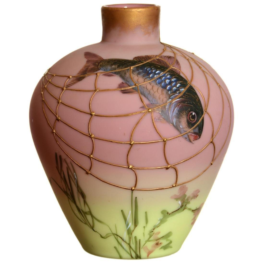 Mt. Washington Decorated Burmese Art Glass Vase