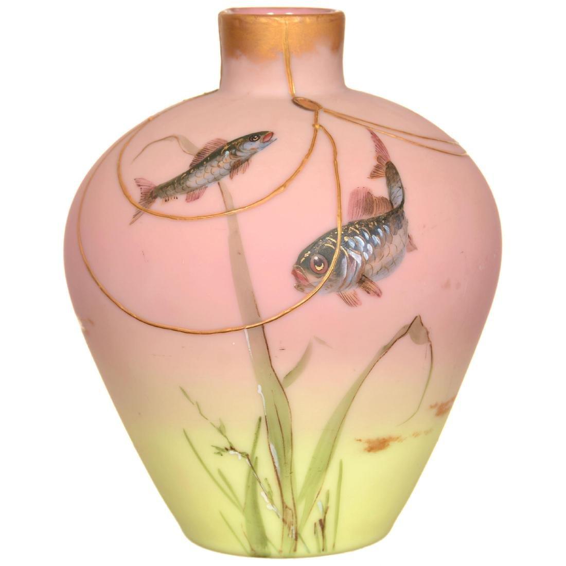 Mt. Washington Decorated Burmese Art Glass Vase - 2