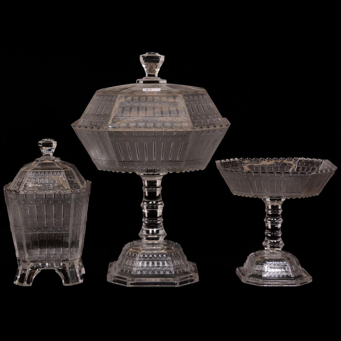 (3) Picket Fence Pattern Glass Items