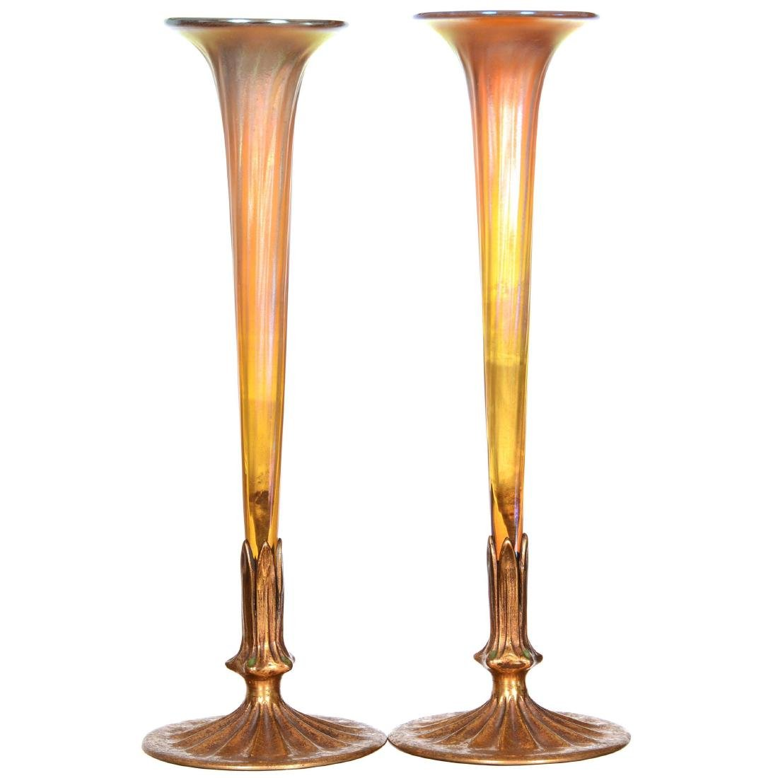 Pair Tiffany Art Glass Vases